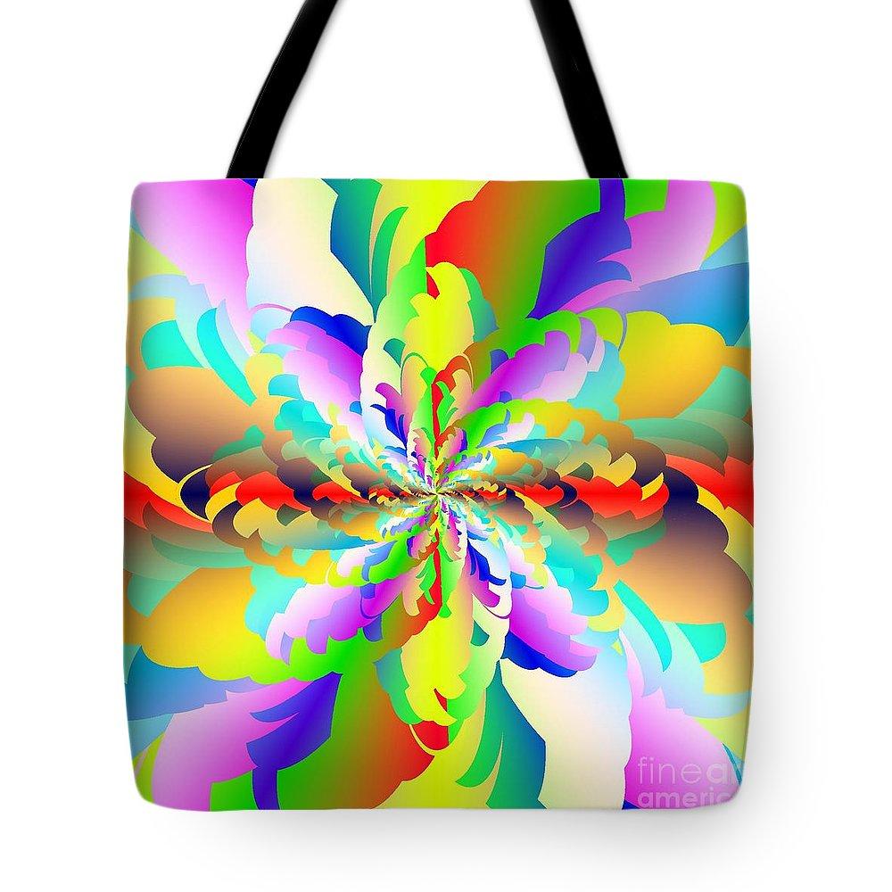 Flamboyant Fractal Fire Flower Tote Bag featuring the digital art Flamboyant Fractal Fire Flower by Michael Skinner