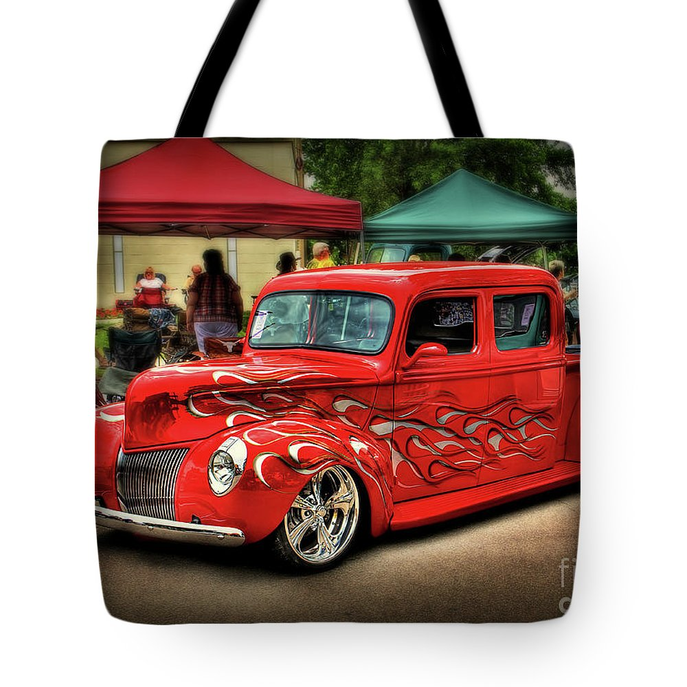 Hot Rod Tote Bag featuring the photograph Flame Hot Truck by Perry Webster