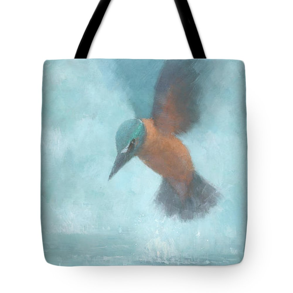 Blue Tote Bag featuring the painting Flame In The Mist by Steve Mitchell