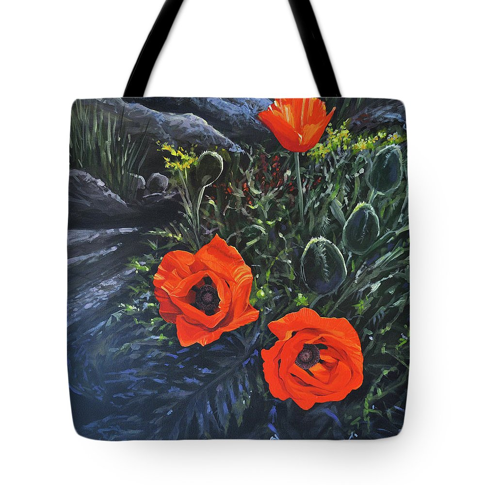 Poppy Tote Bag featuring the painting Flame of the West by Hunter Jay
