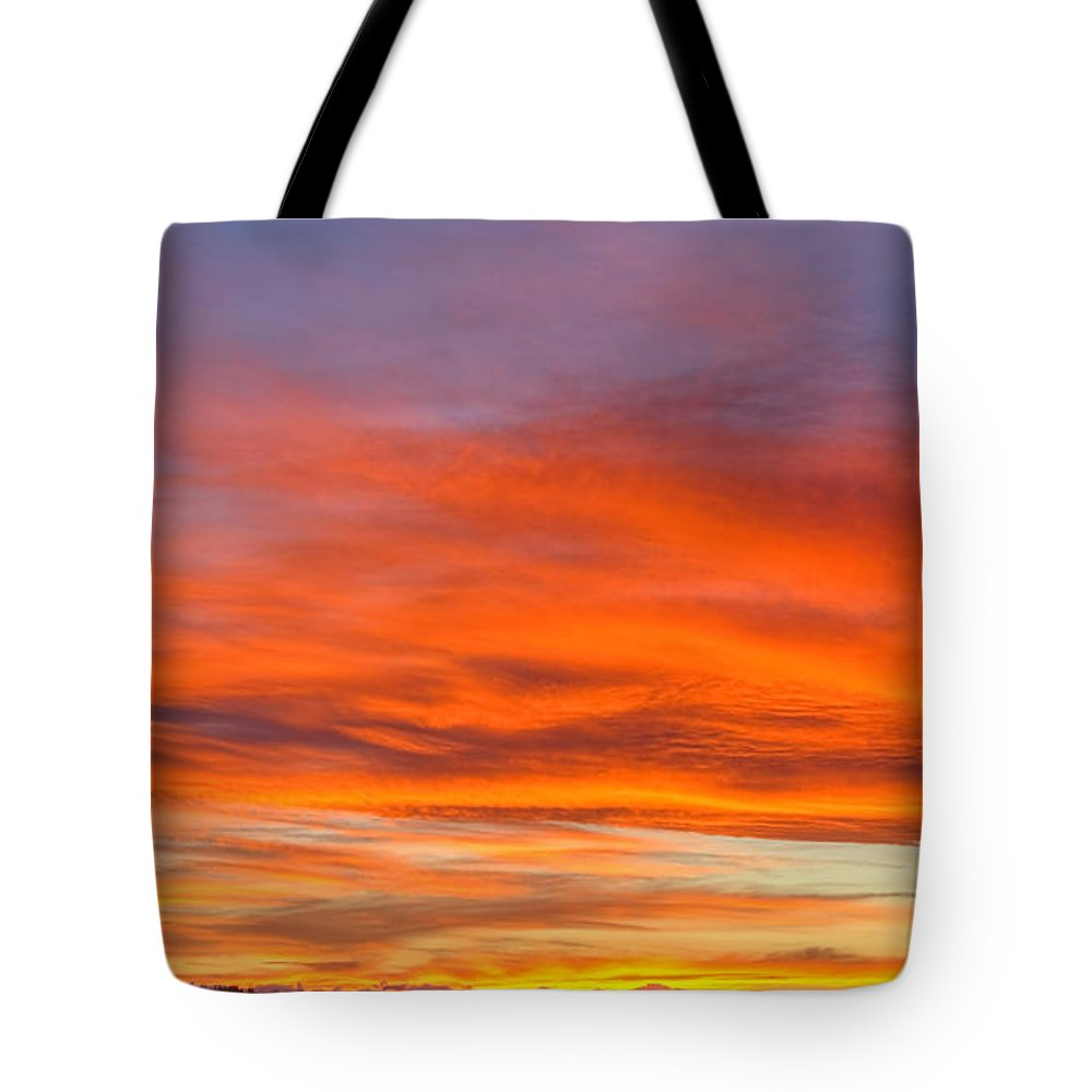 Alberta Sky Tote Bag featuring the photograph Flame On In Widescape by James Anderson