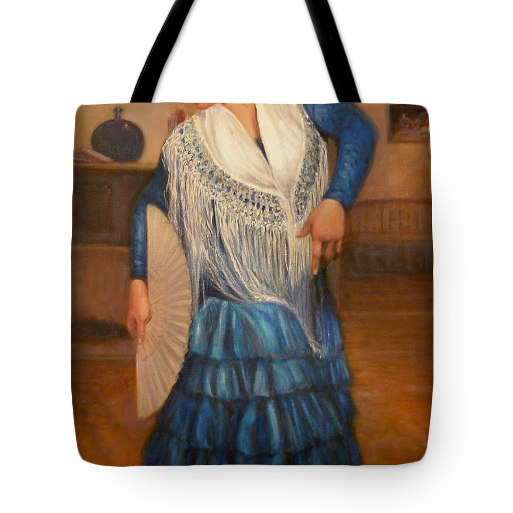 Realism Tote Bag featuring the painting Flamenco 2 by Donelli DiMaria