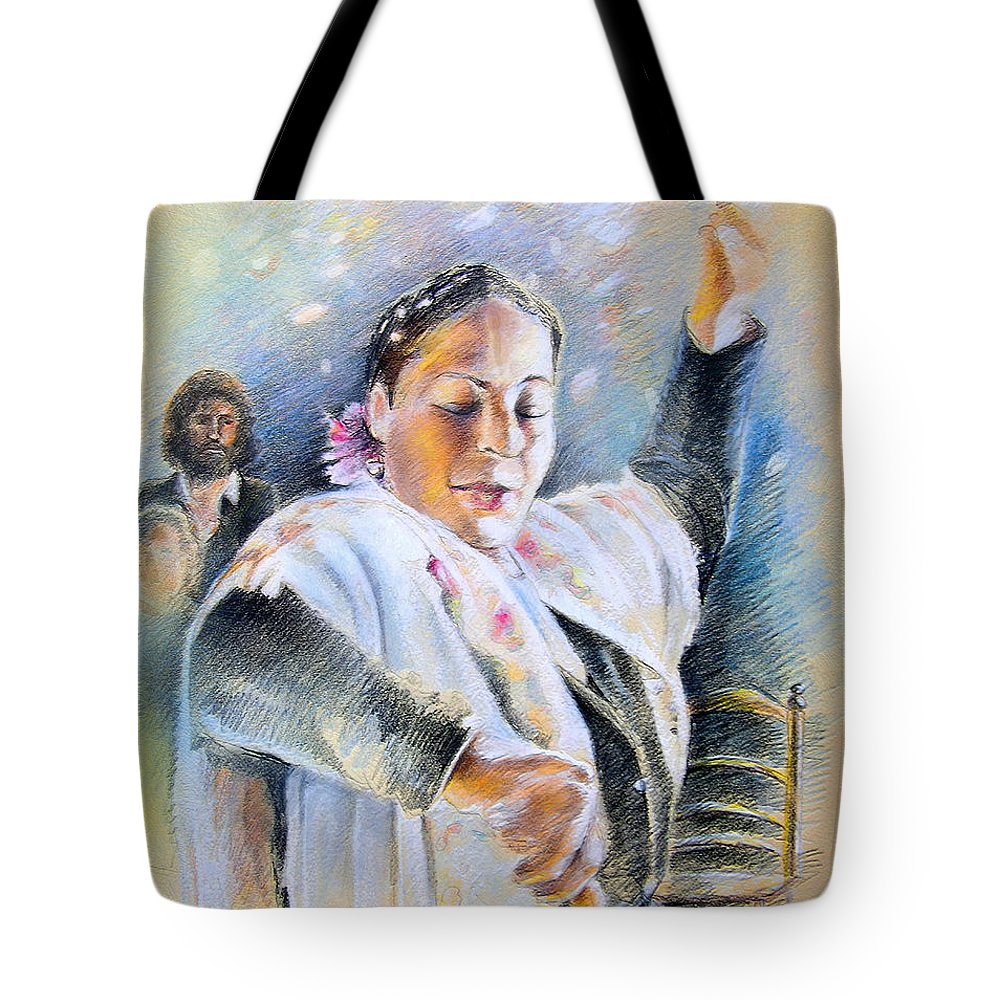 Music Tote Bag featuring the painting Flamenco Dancer by Miki De Goodaboom