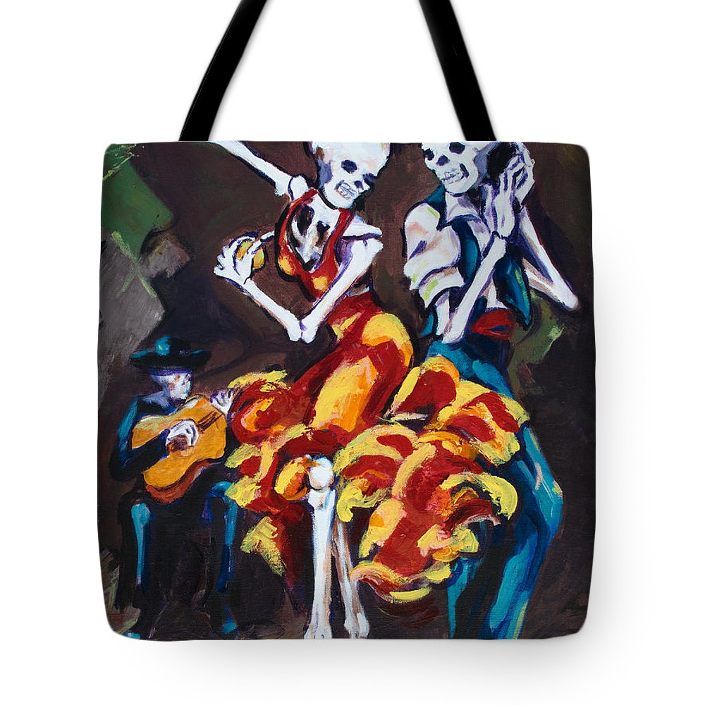 Dia De Los Muertos Tote Bag featuring the painting Flamenco Dancers II by Sharon Sieben