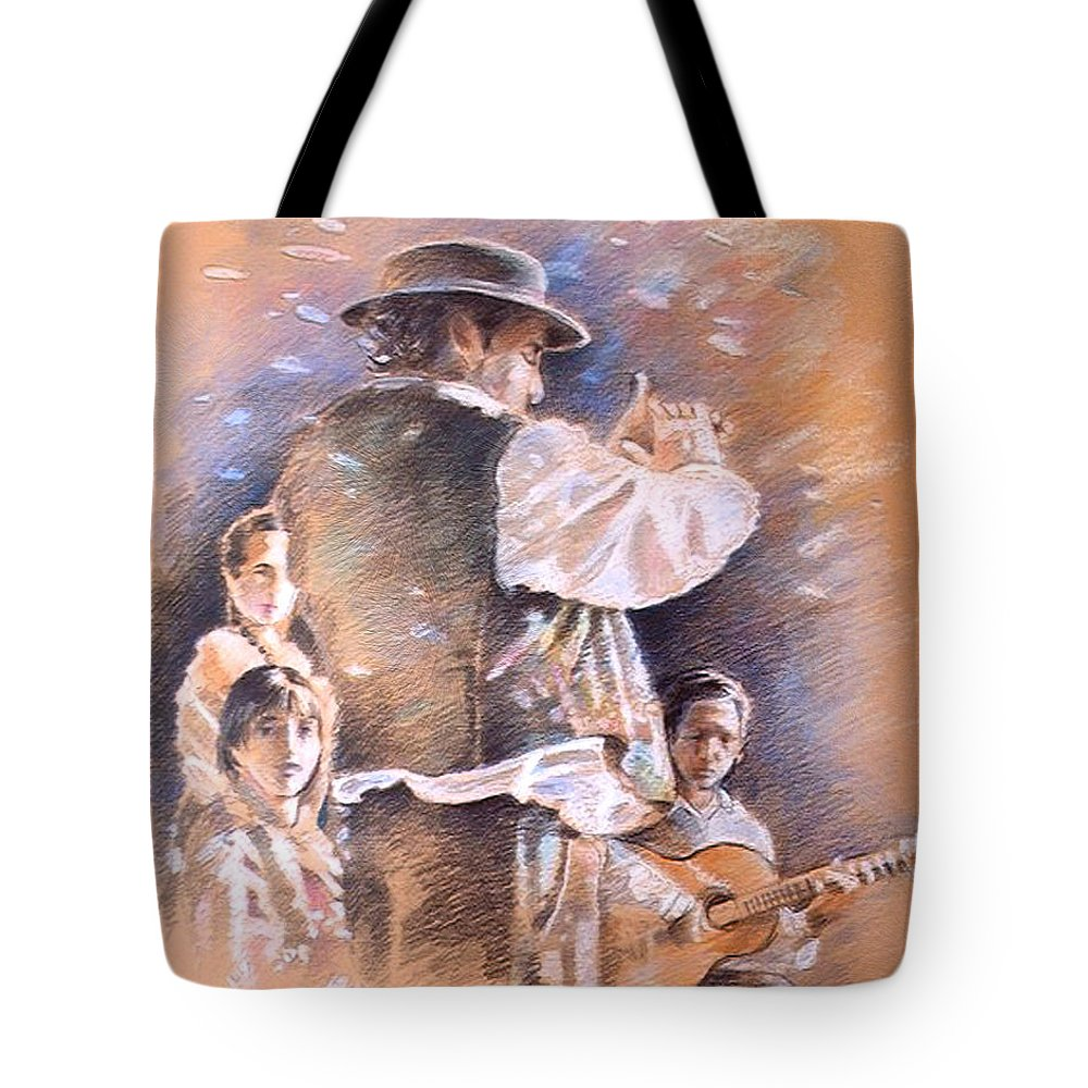 Spain Folklore Tote Bag featuring the painting Flamenco Group by Miki De Goodaboom