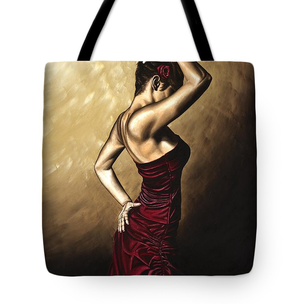 Flamenco Tote Bag featuring the painting Flamenco Woman by Richard Young