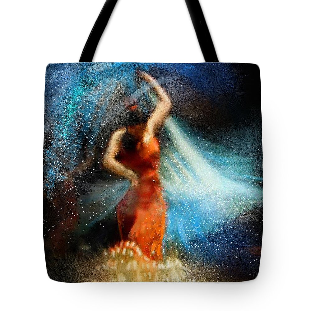 Flamenco Tote Bag featuring the painting Flamencoscape 05 by Miki De Goodaboom