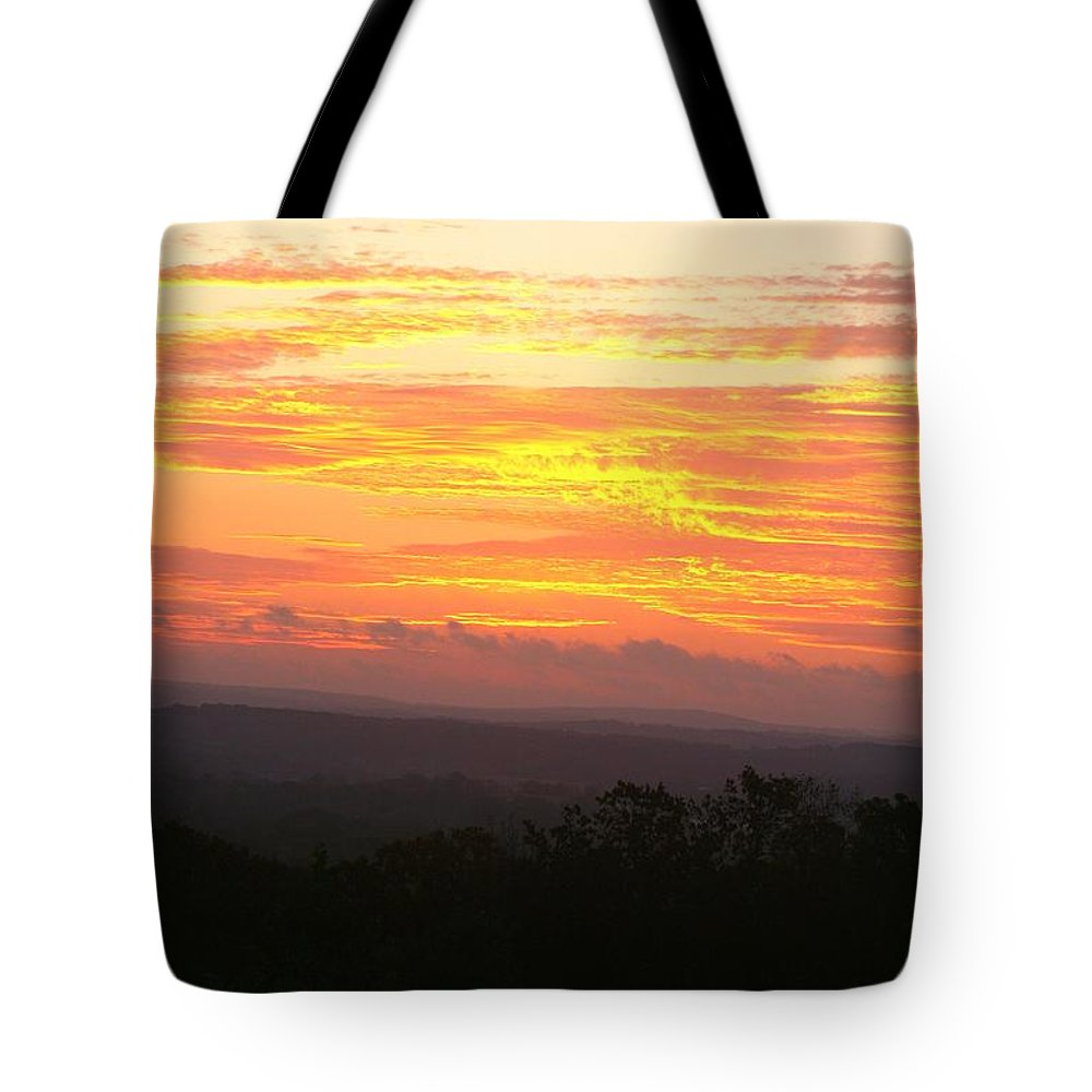 Sunrise Tote Bag featuring the photograph Flaming Autumn Sunrise by Nadine Rippelmeyer