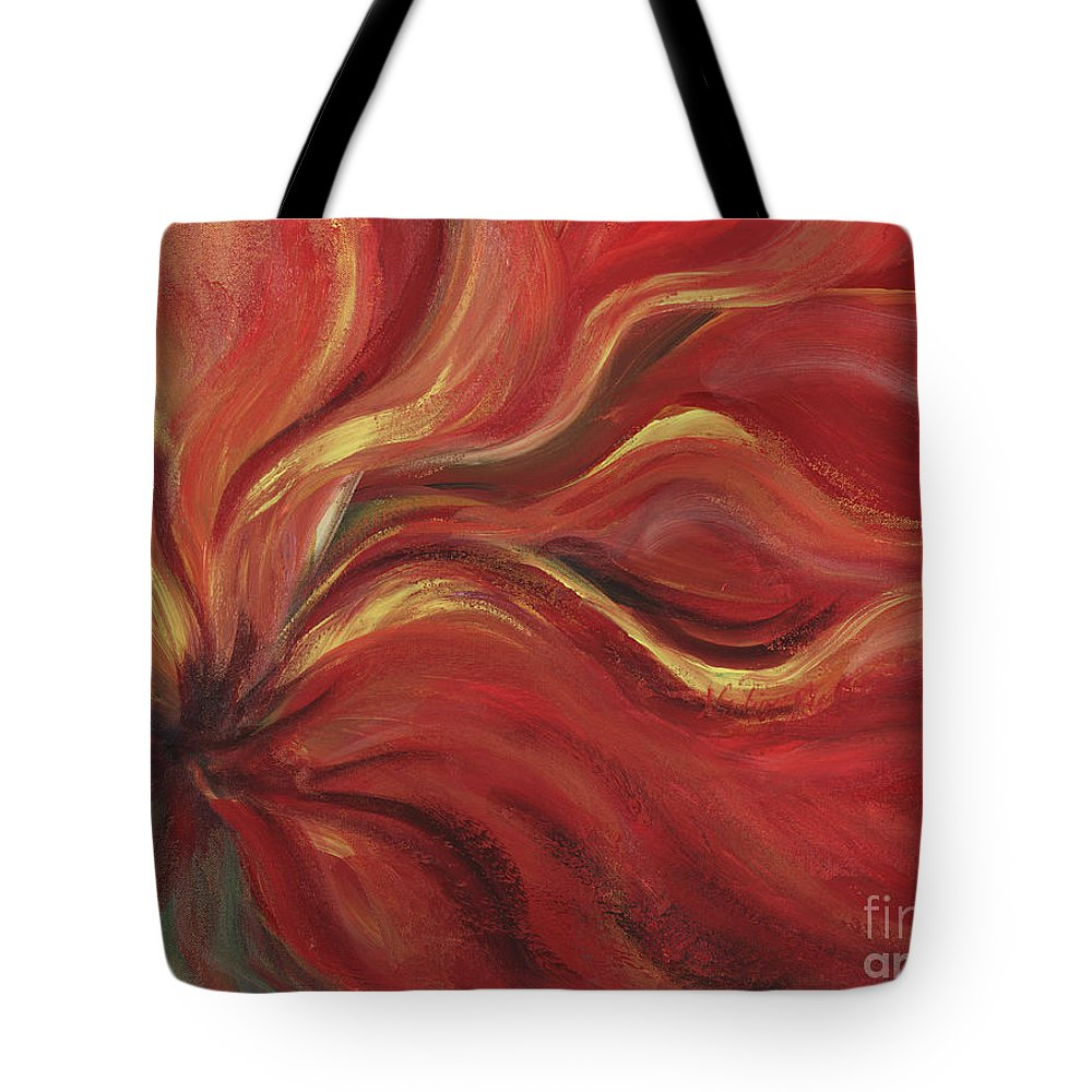 Red Tote Bag featuring the painting Flaming Flower by Nadine Rippelmeyer