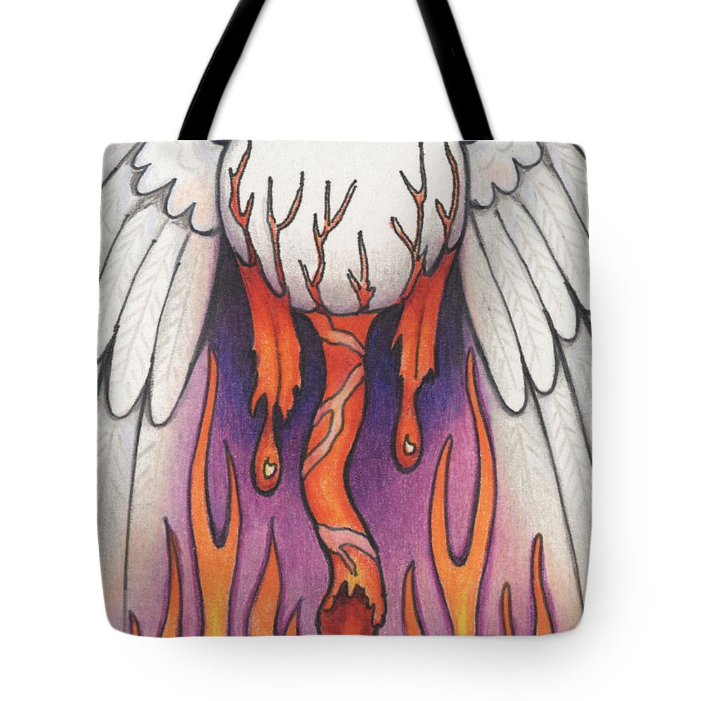 Atc Tote Bag featuring the drawing Flaming Flying Eyeball by Amy S Turner