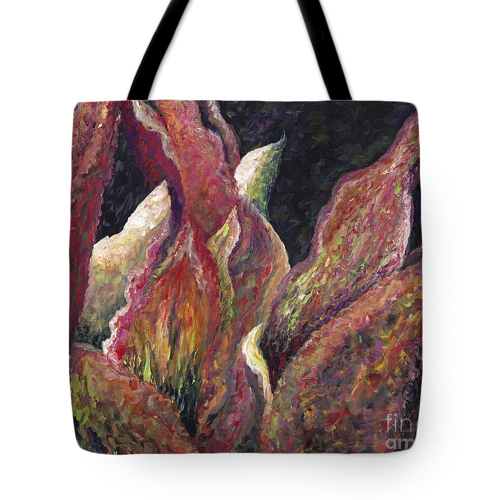 Leaves Tote Bag featuring the painting Flaming Leaves by Nadine Rippelmeyer