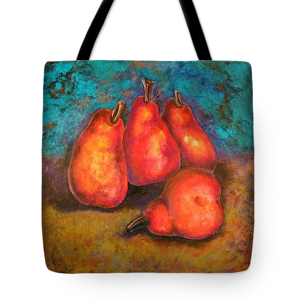 Fruit Tote Bag featuring the painting Flaming Pears by Rae Chichilnitsky