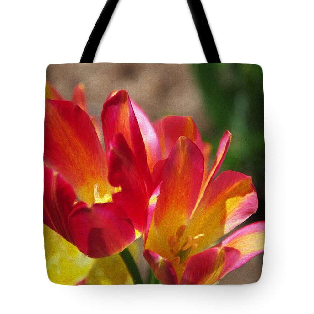 Tulips Tote Bag featuring the painting Flaming Tulips by Jeffrey Kolker