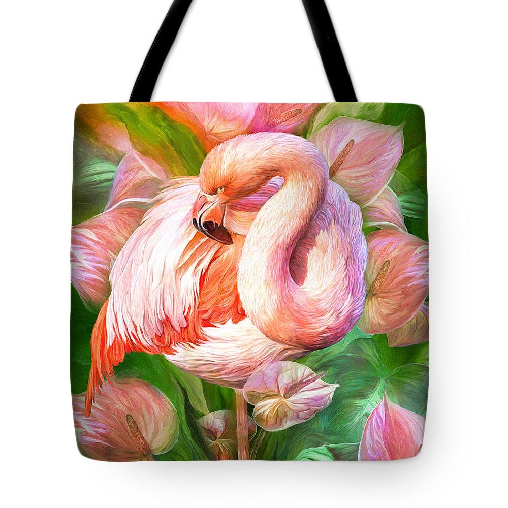 Flamingo Flower Mixed Media Tote Bags