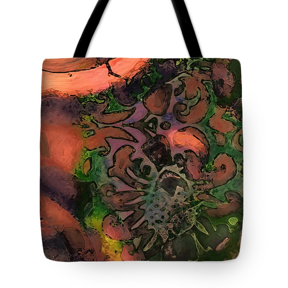 Abstract Tote Bag featuring the painting Flamingo by  DonaRose