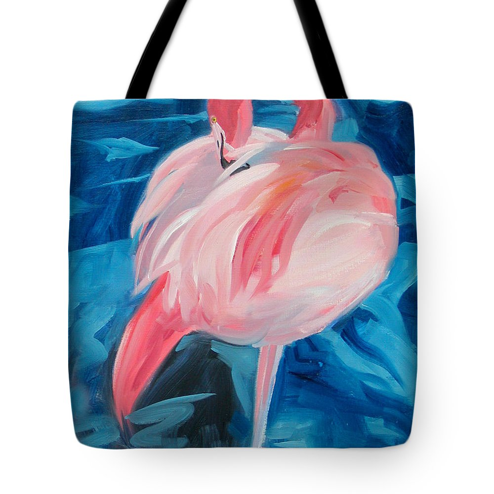 Tropical Tote Bag featuring the painting Flamingo by Neal Smith-Willow
