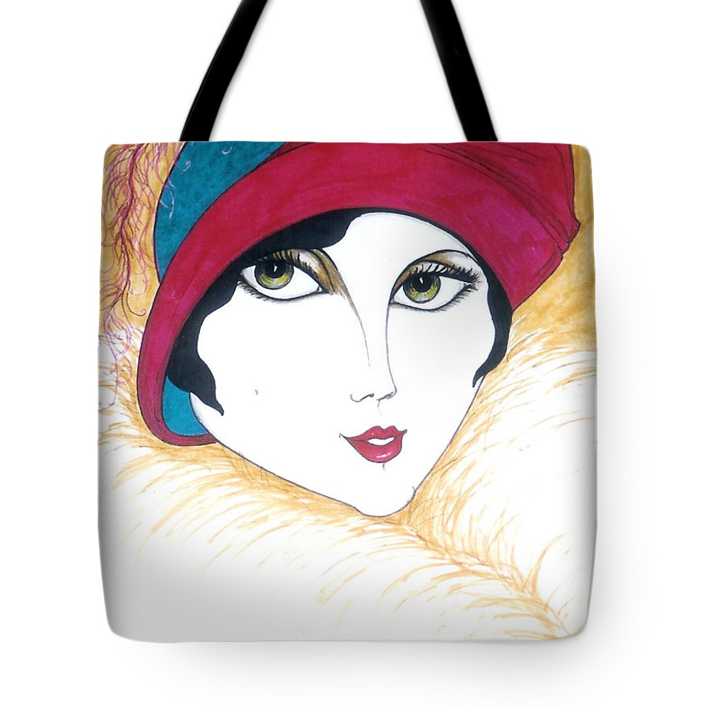 Original Art Tote Bag featuring the greeting card Flapper Girl 1 by Rae Chichilnitsky