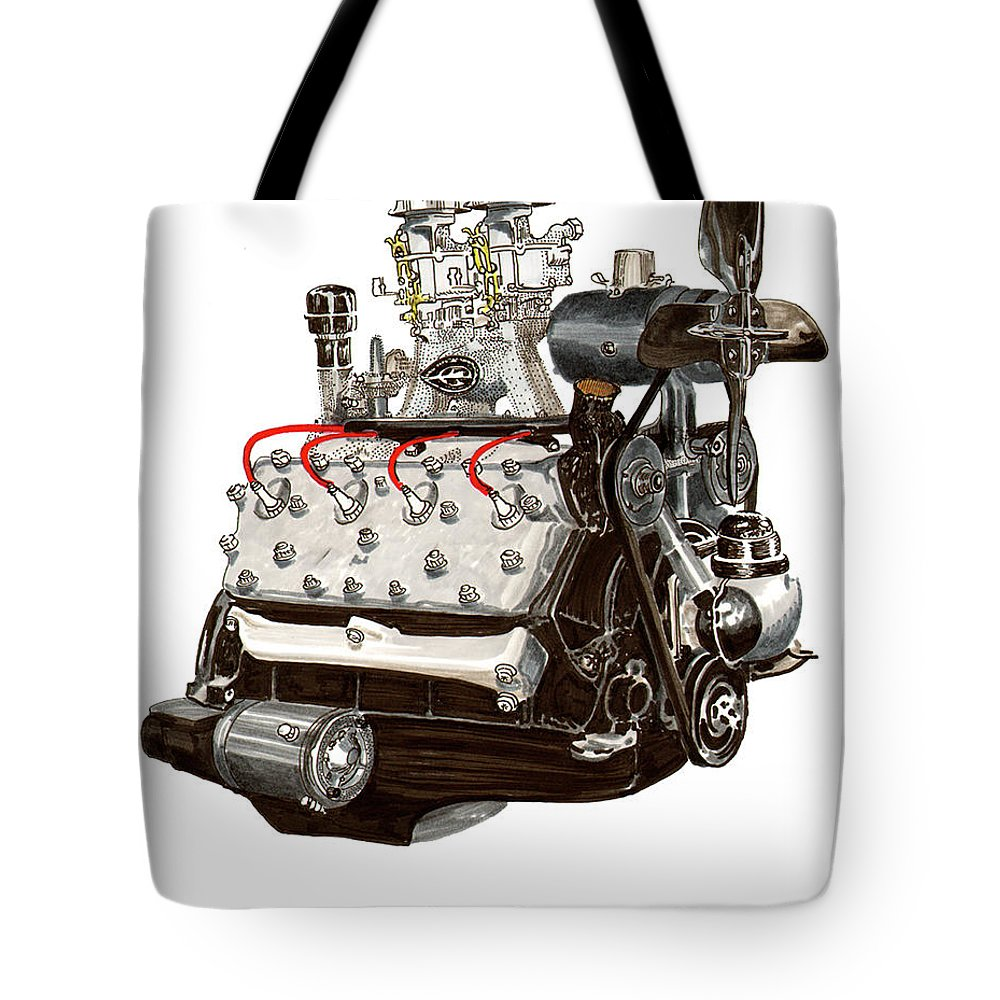 A Watercolor And Ink Drawing Of A Popular Engine Configuration From The 1930's Tote Bag featuring the painting Flat Head V 8 Engine by Jack Pumphrey