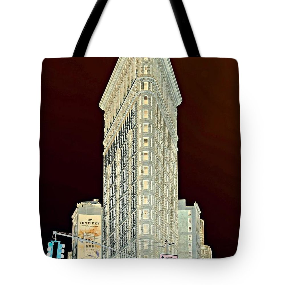 'new York City' Tote Bag featuring the photograph Flatiron Building Inverted by Randy Aveille