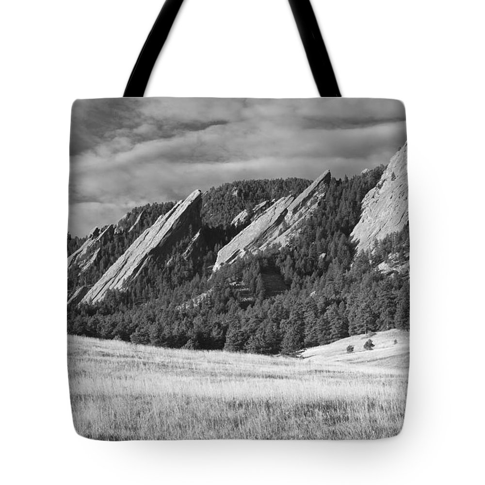 Boulder Photos Tote Bag featuring the photograph Flatiron Morning Light Boulder Colorado Bw by James BO Insogna