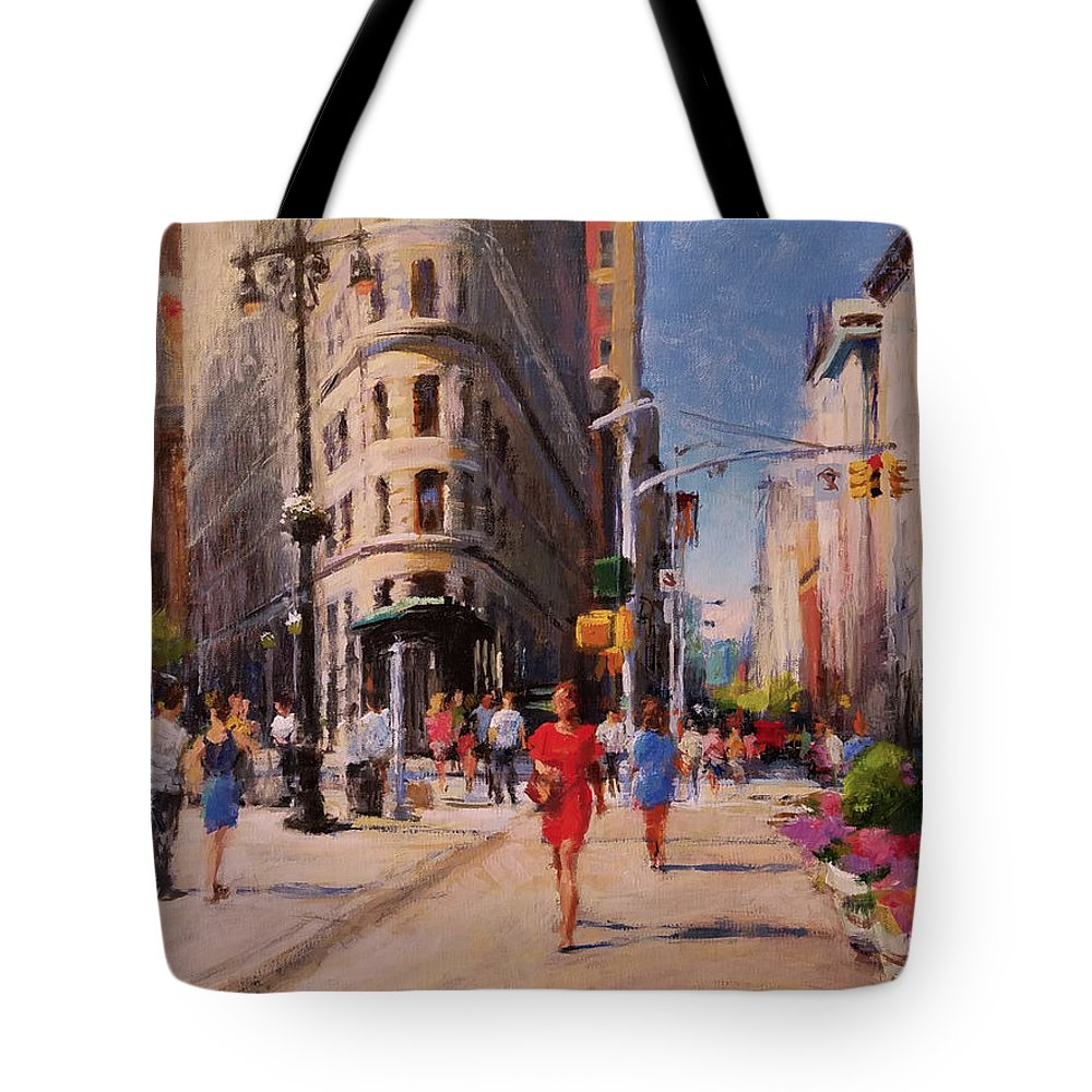 Landscape Tote Bag featuring the painting Flatiron Plaza, Summer Morning by Peter Salwen