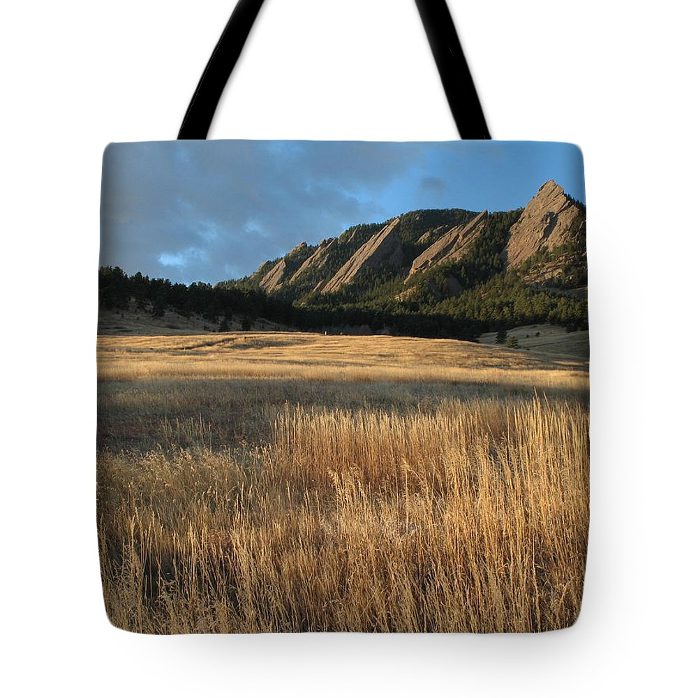 Boulder Tote Bag featuring the photograph Flatirons Mtn M 102 by Sierra Dall