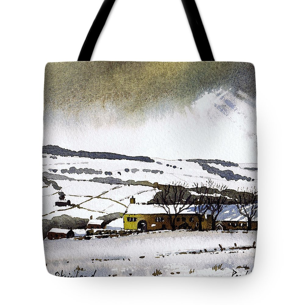 Winter Tote Bag featuring the painting Fleeting Light Stainland by Paul Dene Marlor