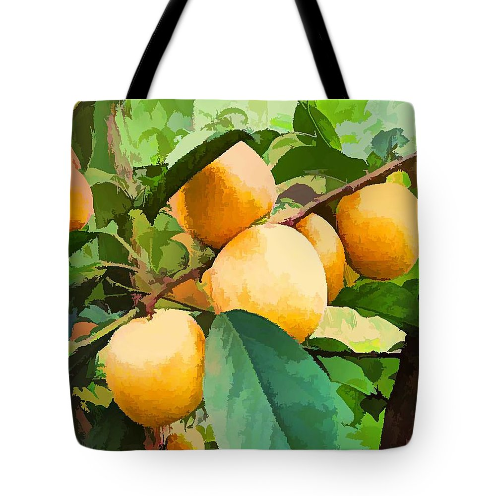 Agriculture Tote Bag featuring the painting Fleshy Yellow Plums On The Branch by Jeelan Clark