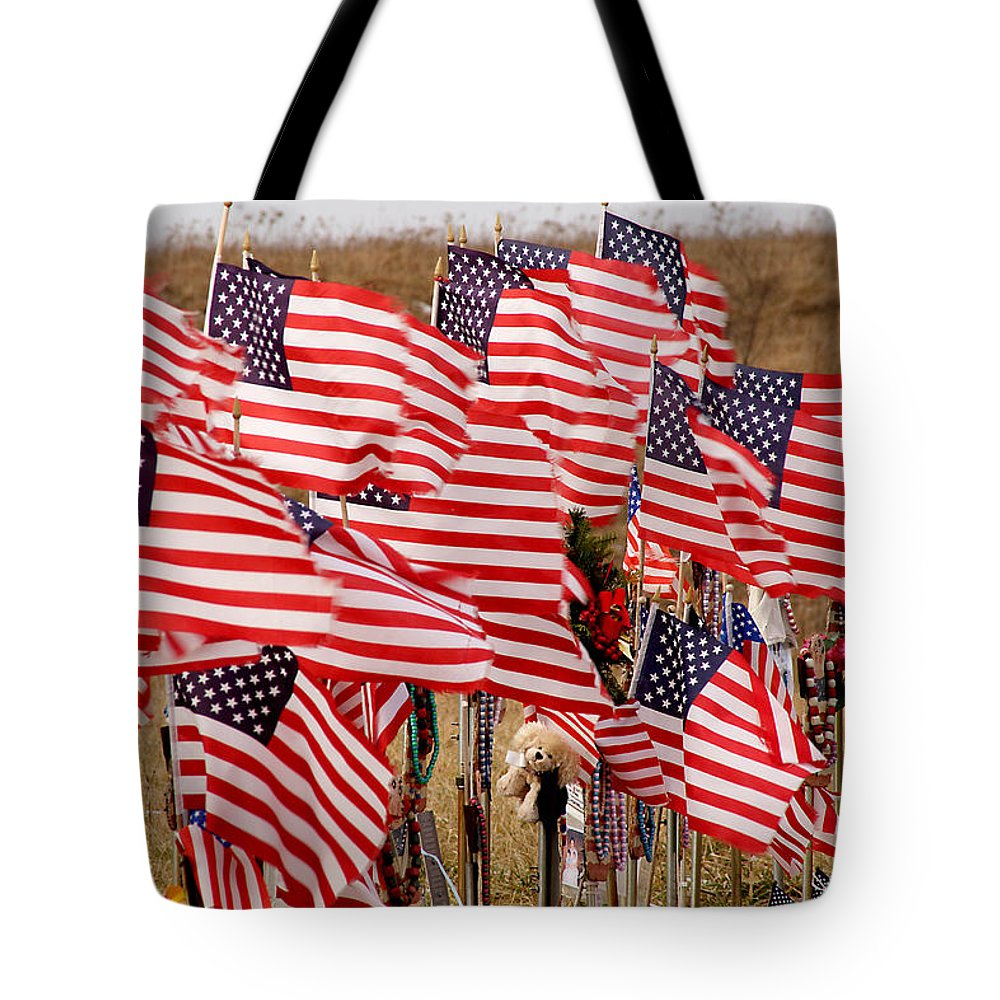 Flags Tote Bag featuring the photograph Flight 93 Flags by Jean Macaluso
