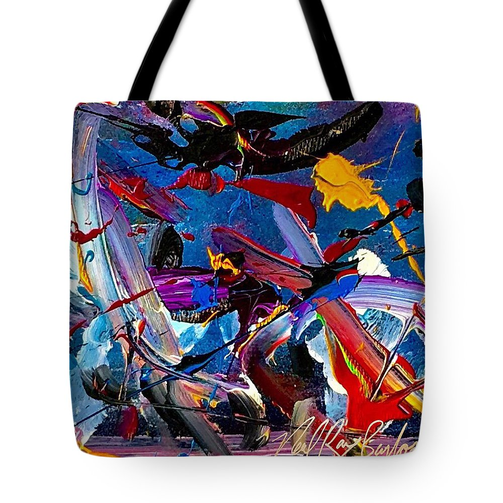 Hummingbird Bird Tote Bag featuring the painting Flight Of A Huming Bird by Neal Barbosa