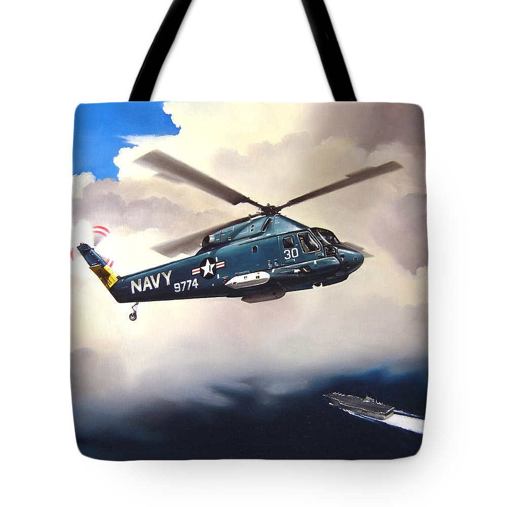Military Tote Bag featuring the painting Flight Of The Seasprite by Marc Stewart