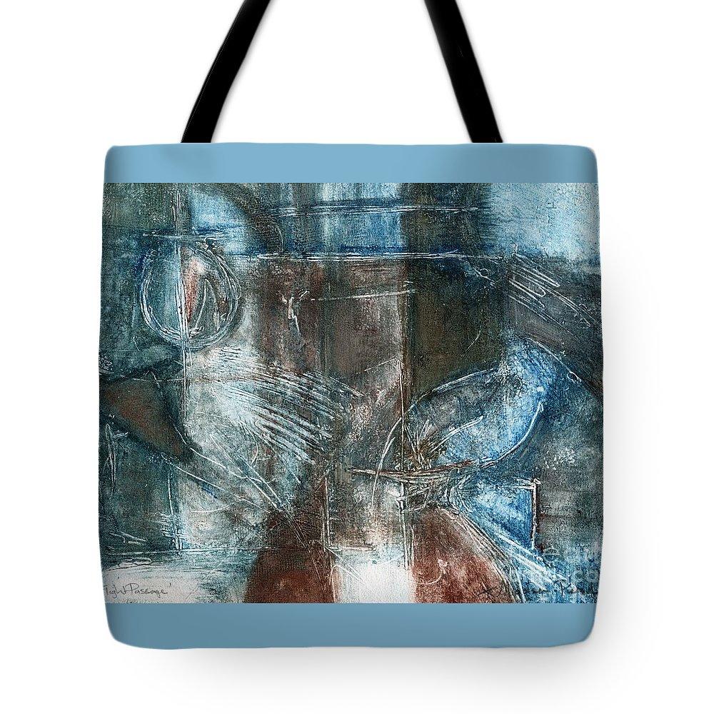 Flight Tote Bag featuring the relief Flight Passage by Kerryn Madsen- Pietsch