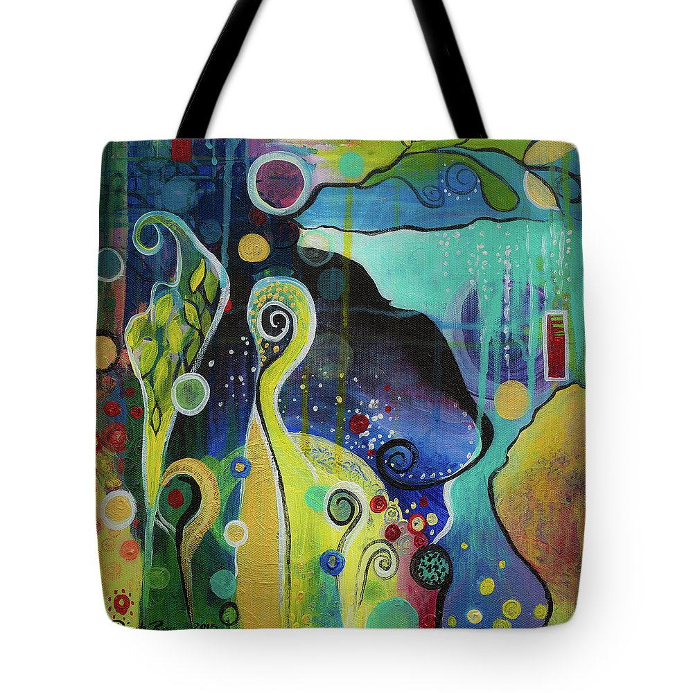 Abstract Tote Bag featuring the painting Float by Dinah Rau