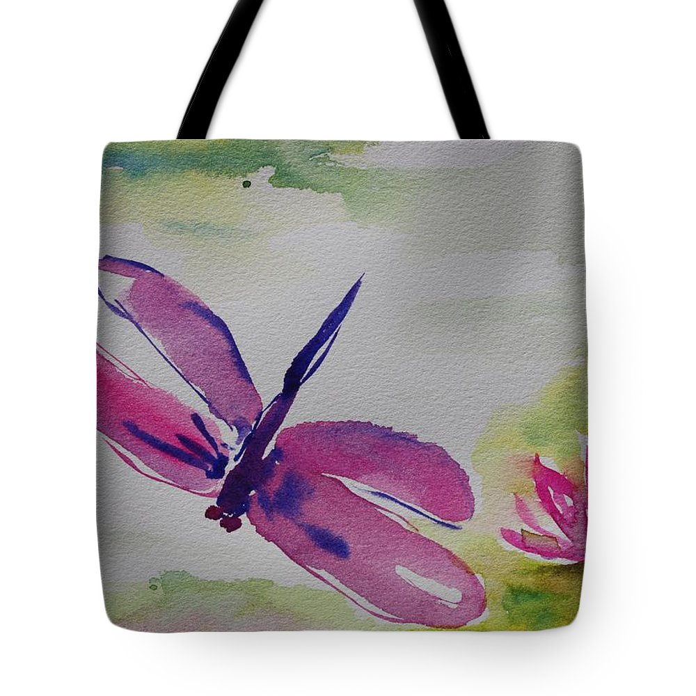 Zen Tote Bag featuring the painting Float Like A Dragonfly by Tara Moorman