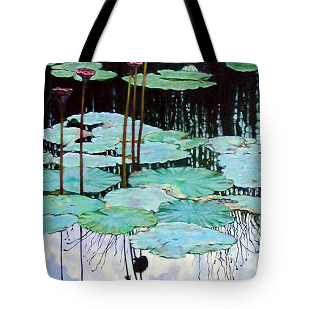 Water Lilies Tote Bag featuring the painting Floating - Reflective Beauty by John Lautermilch