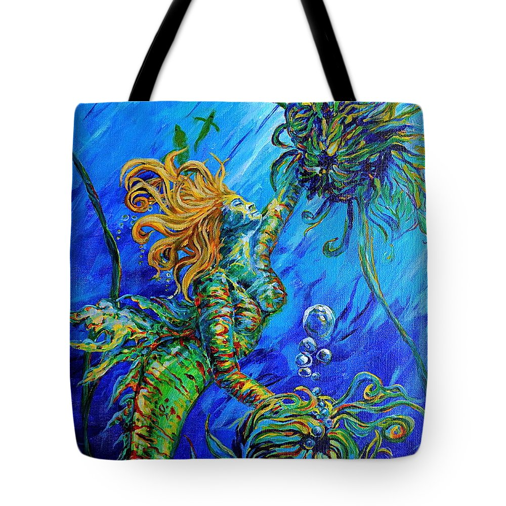 Blond Mermaid Tote Bag featuring the painting Floating Blond Mermaid by Gregory Merlin Brown