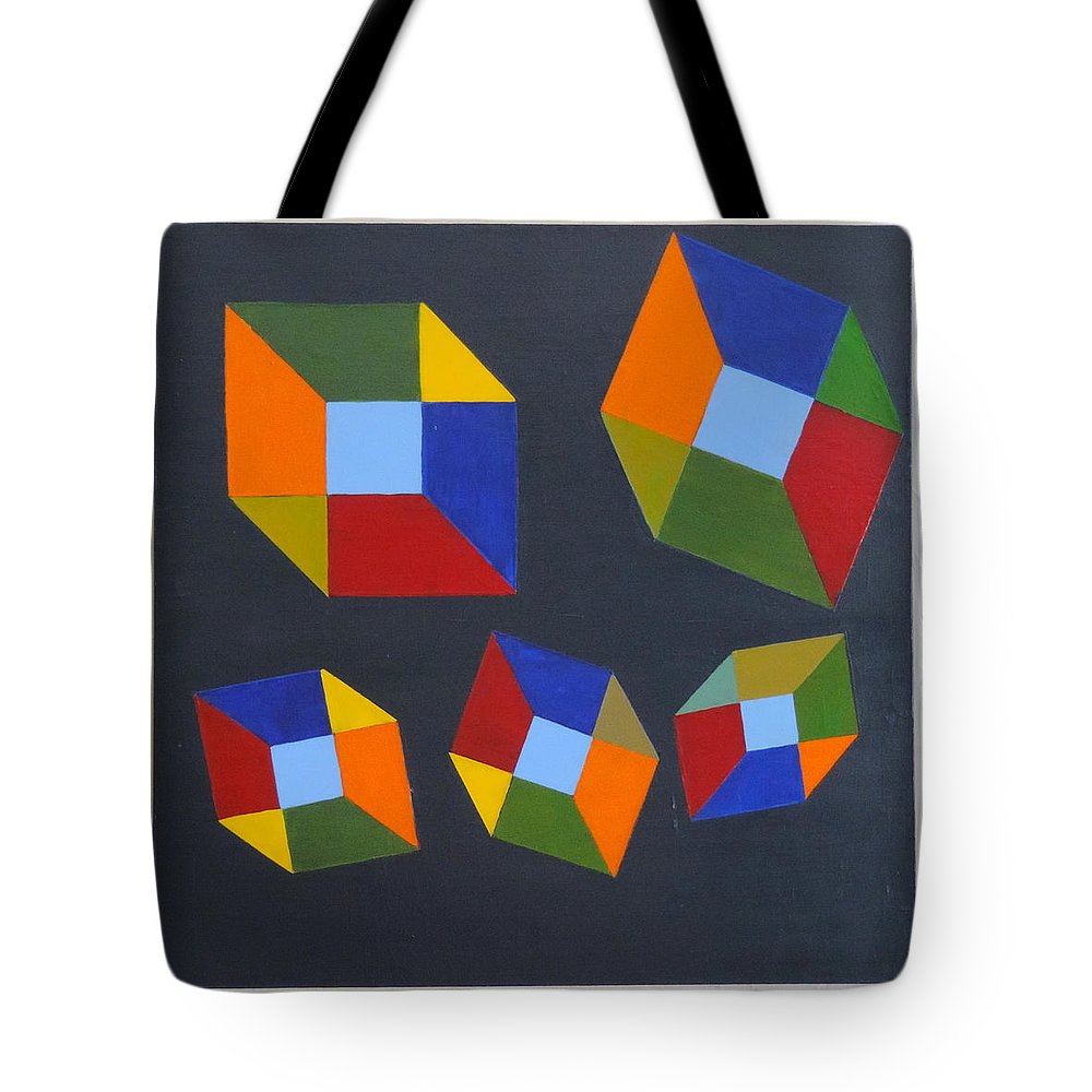 #abstract Tote Bag featuring the painting Floating Cubes 2 by Erin Trunel