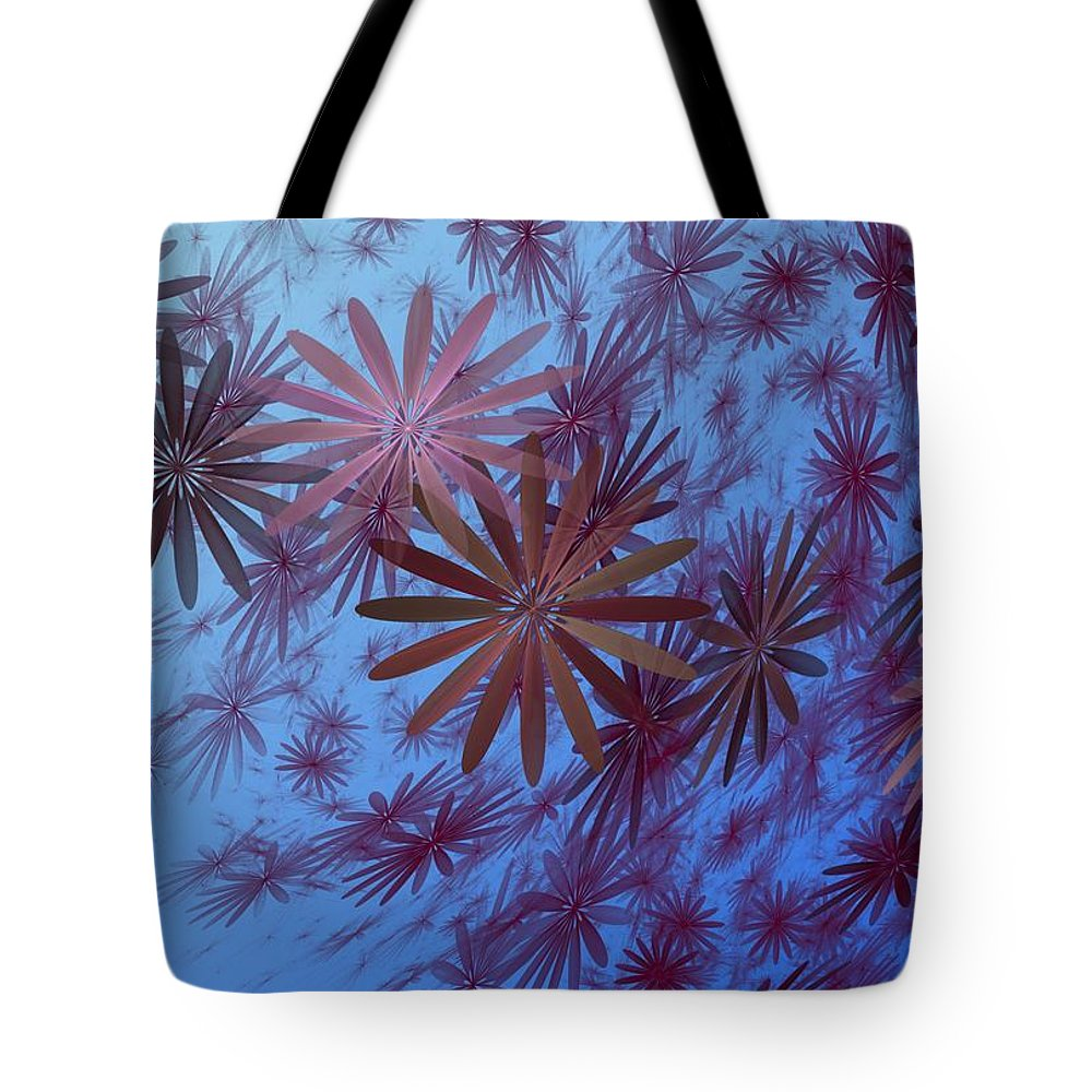 Fantasy Tote Bag featuring the digital art Floating Floral - 001 by David Lane