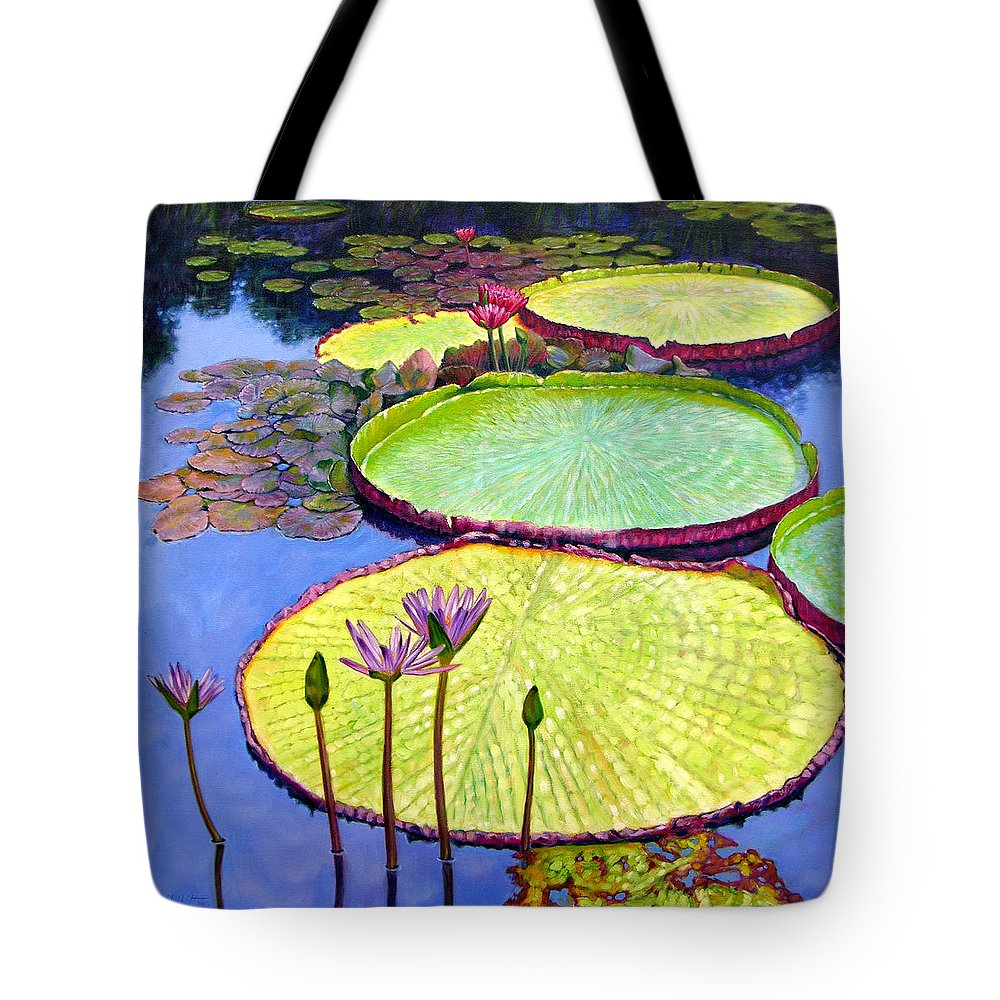 Garden Pond Tote Bag featuring the painting Floating Galaxies by John Lautermilch