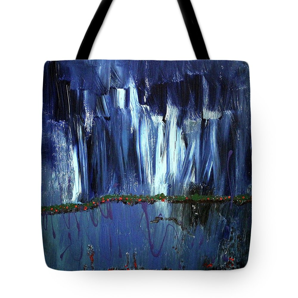Blue Tote Bag featuring the painting Floating Gardens by Pam Roth O'Mara