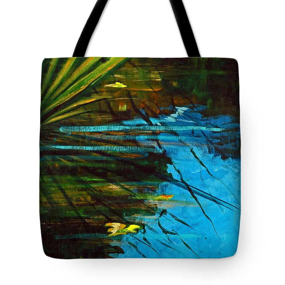 Acrylic Tote Bag featuring the painting Floating Gold On Reflected Blue by Suzanne McKee