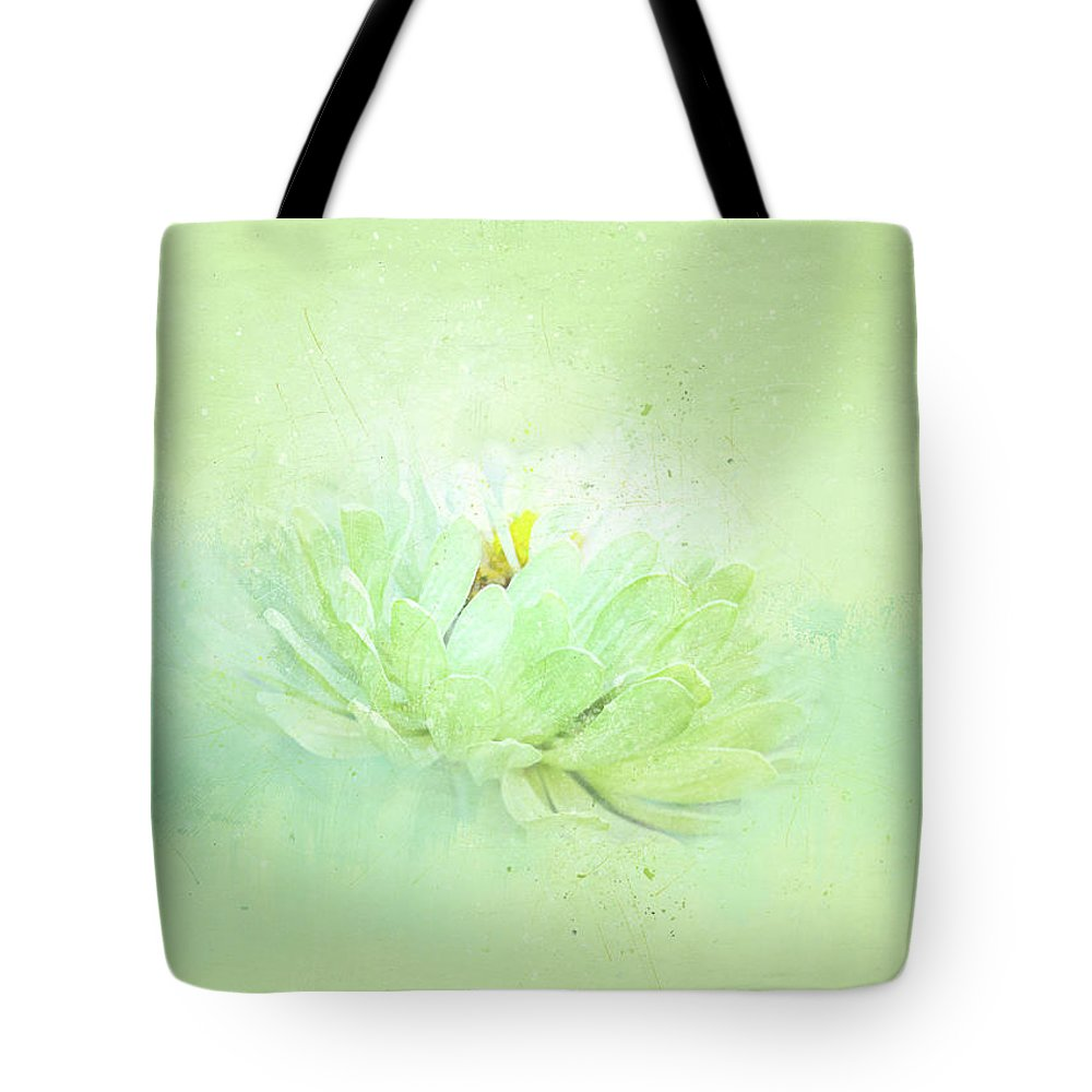 Flower Tote Bag featuring the mixed media Floating In Green by Terry Davis