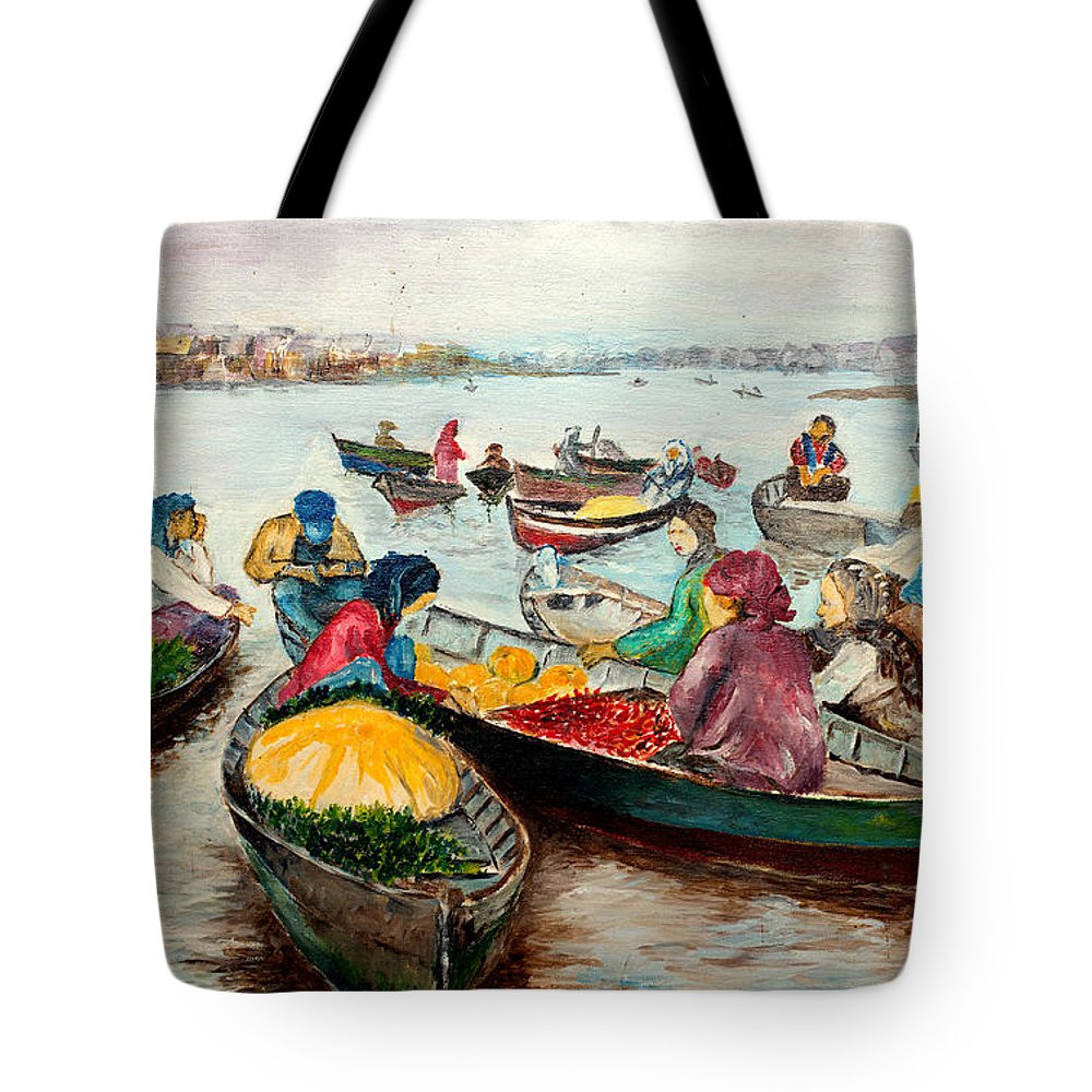 River Tote Bag featuring the painting Floating Market by Jason Sentuf