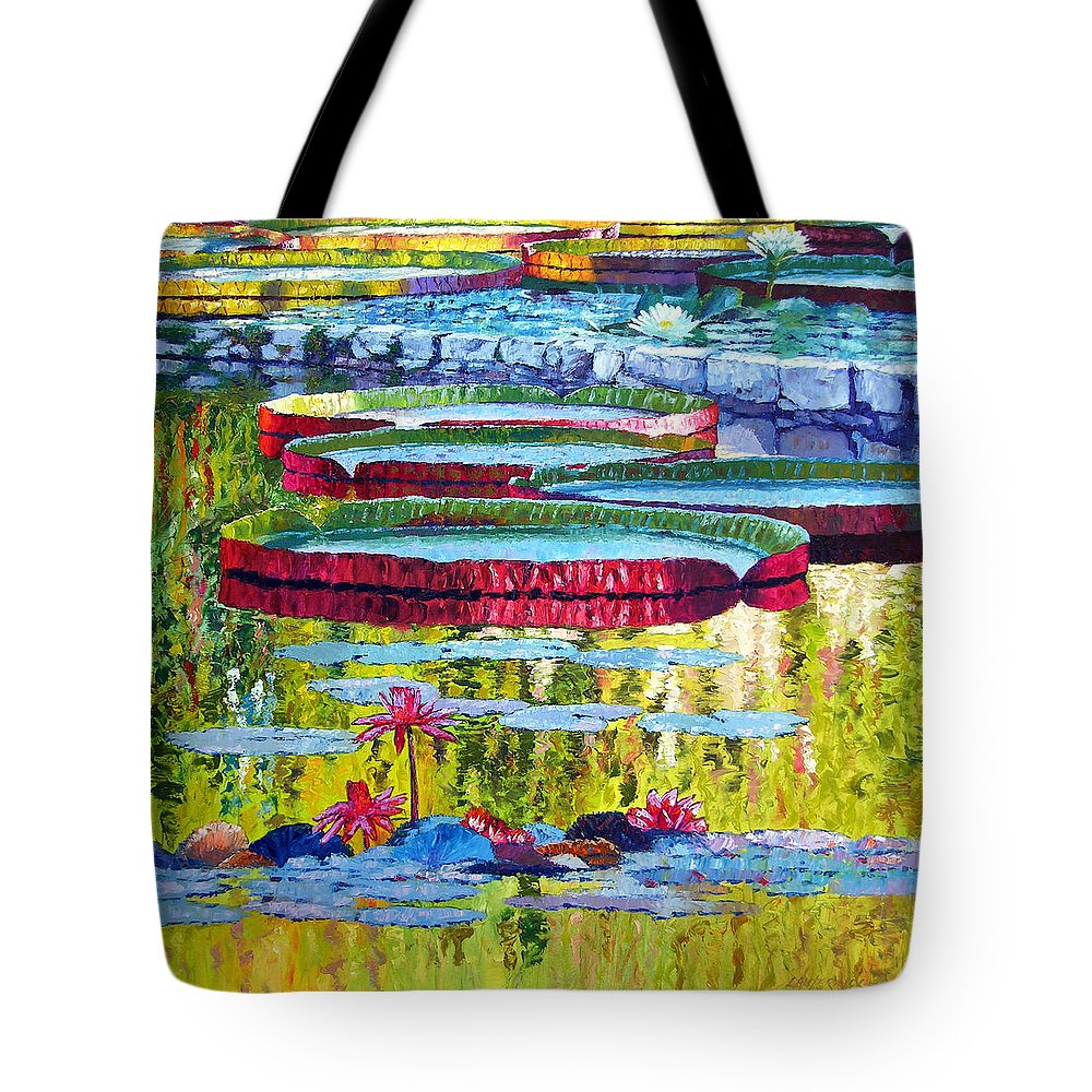 Lily Pond Tote Bag featuring the painting Floating Parallel Universes by John Lautermilch