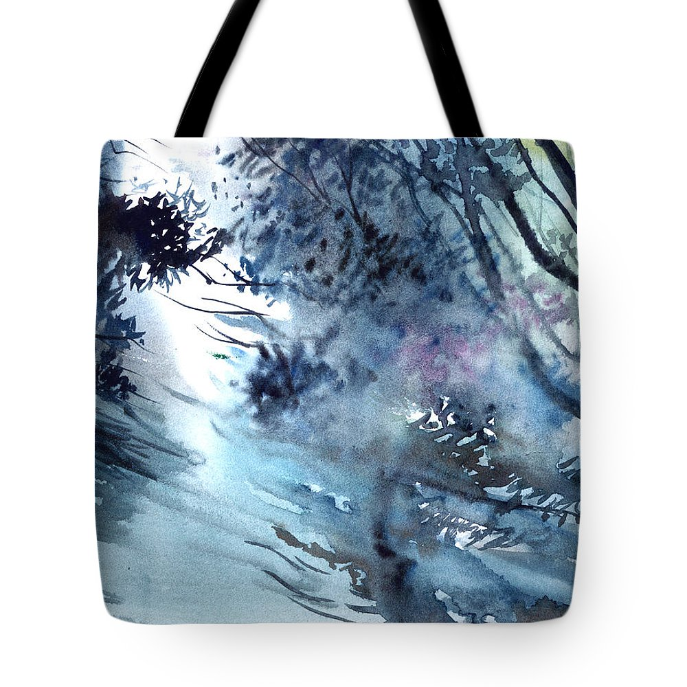 Floods Tote Bag featuring the painting Flooding by Anil Nene