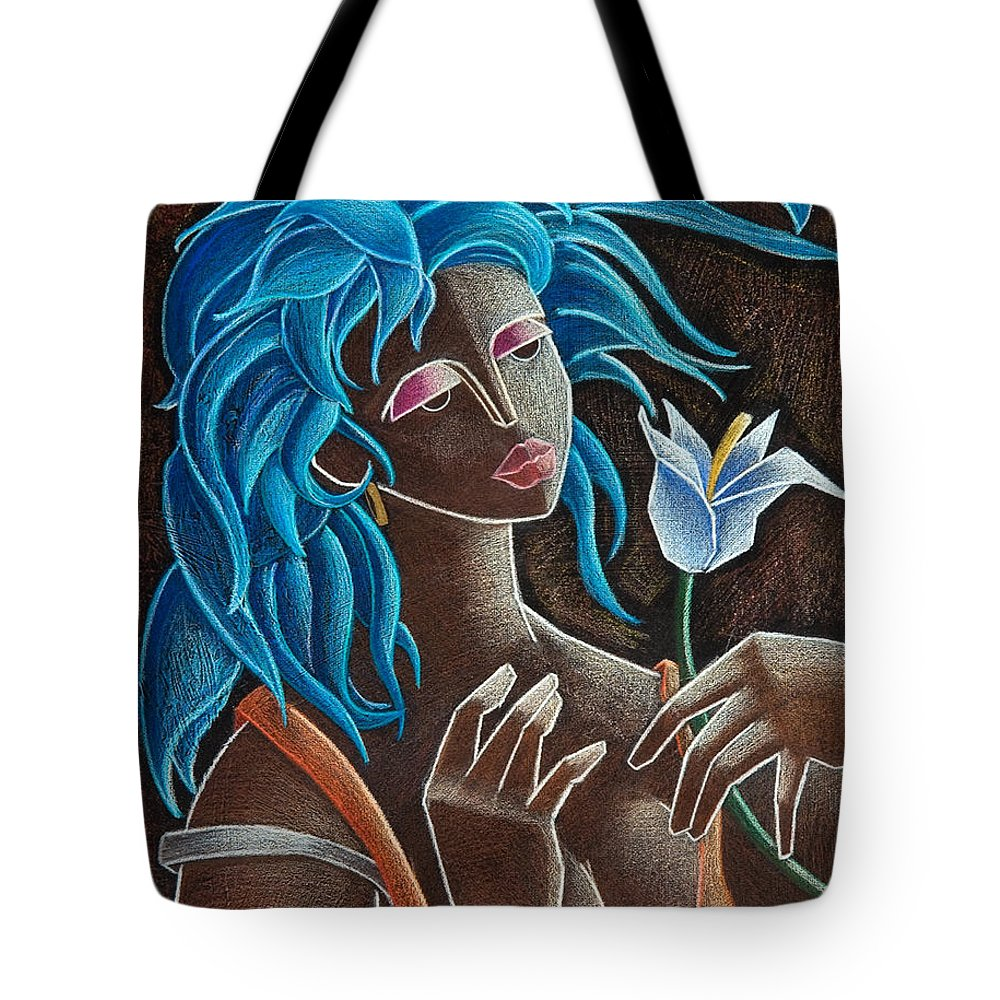 Puerto Rico Tote Bag featuring the painting Flor Y Viento by Oscar Ortiz