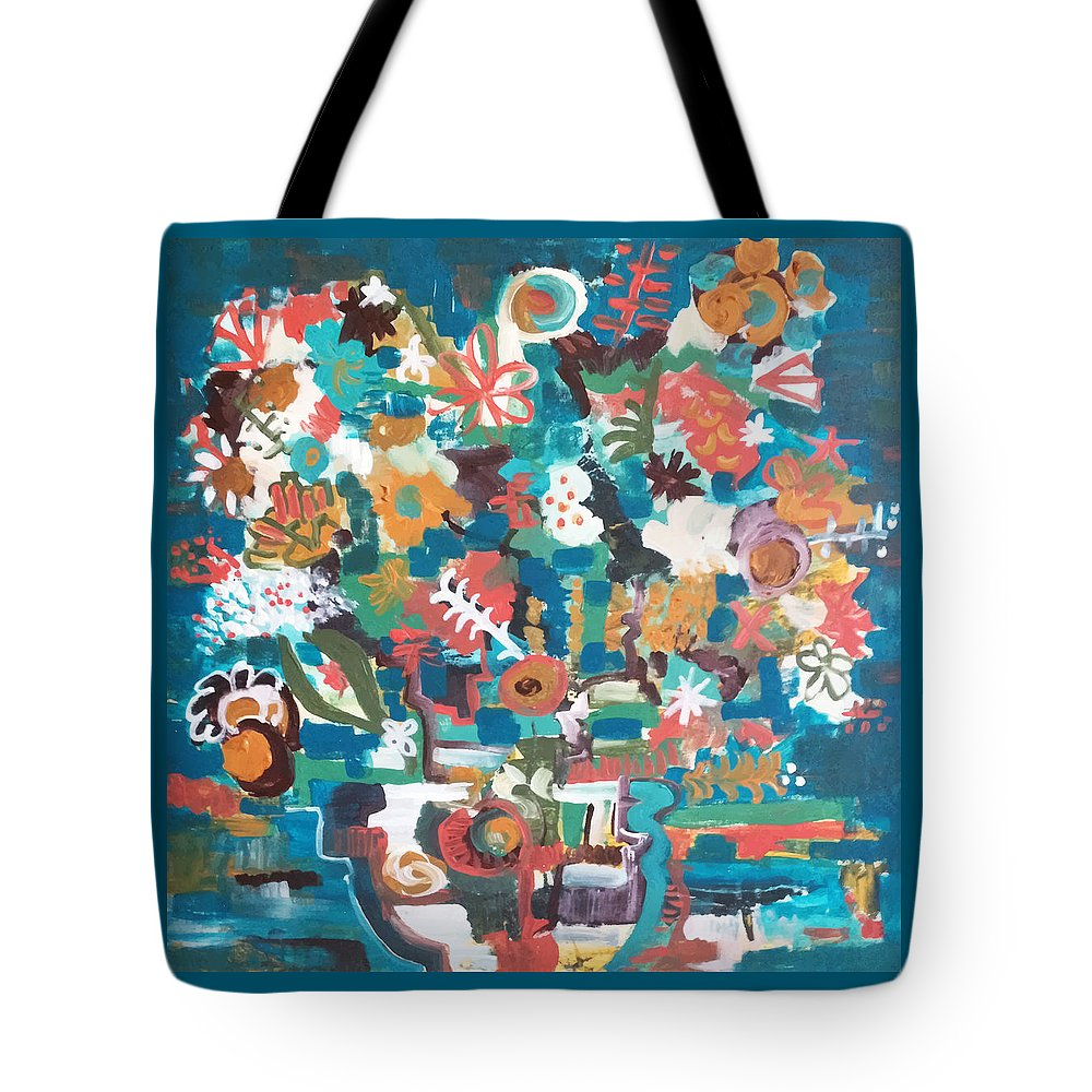 Abstract Tote Bag featuring the painting Floral Abstract Still Life by Ann tygett Jones