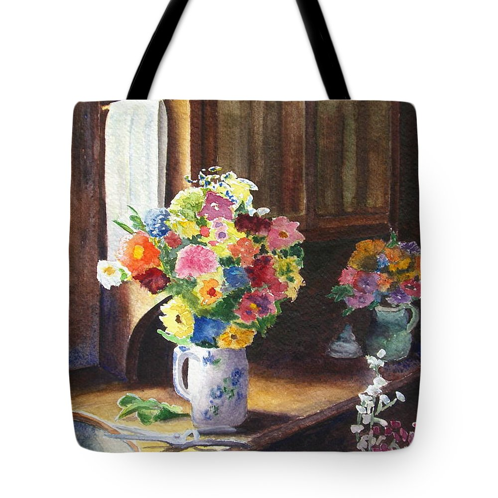 Flowers Tote Bag featuring the painting Floral Arrangements by Karen Fleschler