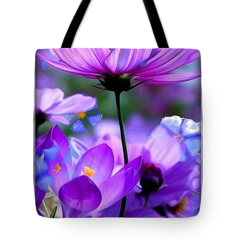 Tote Bag featuring the digital art Floral by Ayushi Rao