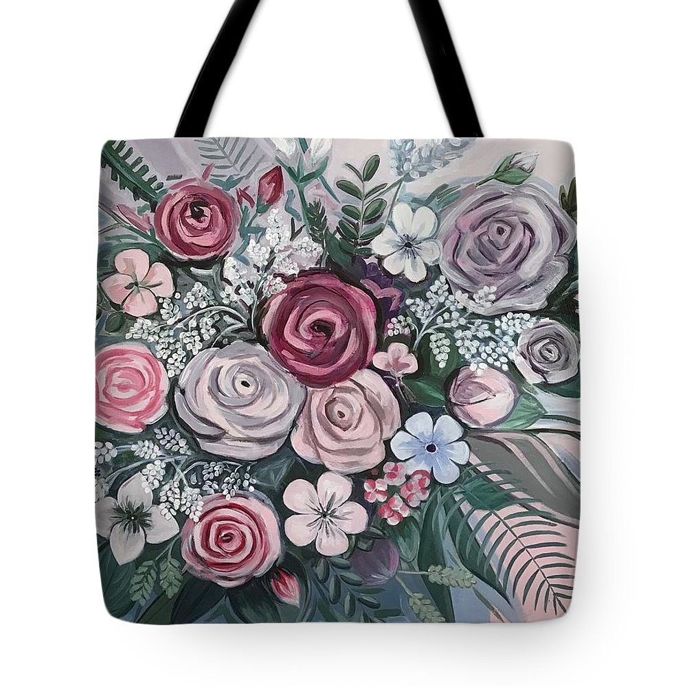 Floral Tote Bag featuring the painting Floral Boom by Leysan Khasanova